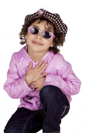 Cute afro american girl wearing pink jacket and sunglasses photo