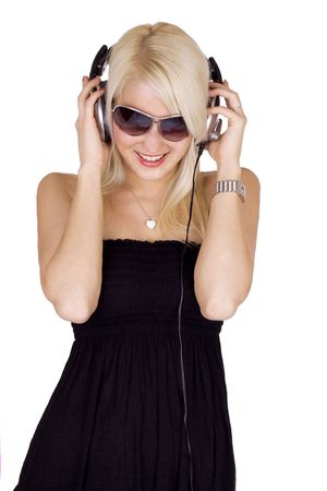 Blond girl with sunglasse listening to music