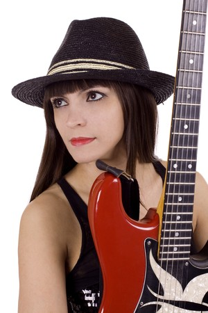 Woman with black hat and red guitar photo