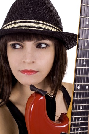 Woman with hat and red guitar playing country music photo