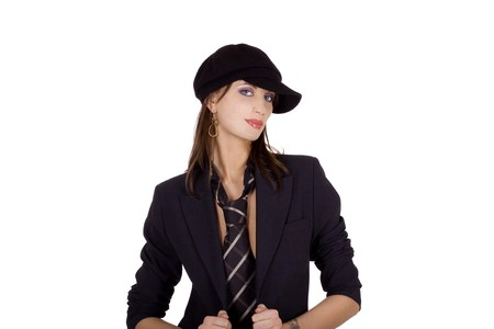 hair tie: Cool business woman wearing a mens tie Stock Photo