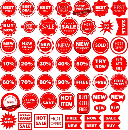 Collection of 55 red sale signs, labels   Vector