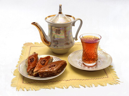 Oriental tea party with baklava Фото со стока