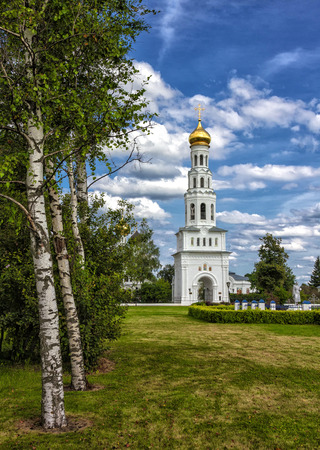 Birch grove and church in Russian village Zavidovo