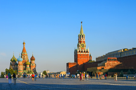 st  basil: Moscow Kremlin and St. Basil Cathedral on Red Square Stock Photo