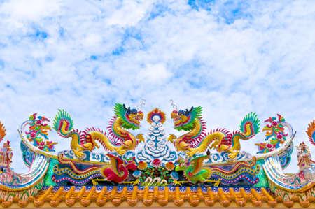 festival scales: Colorful golden dragon Stock Photo