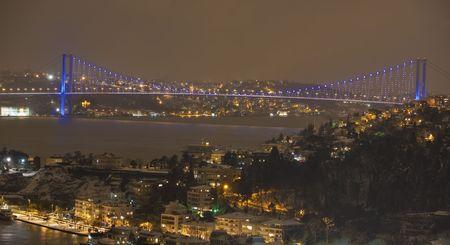 Cityscape at night with shiny bridge photo