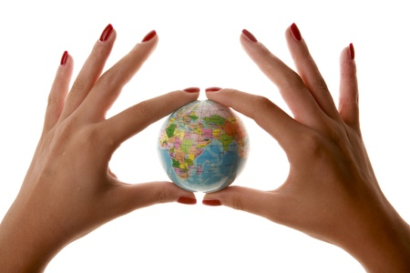 Womans hands holding small world - Globe - Planet - Business Foto de archivo