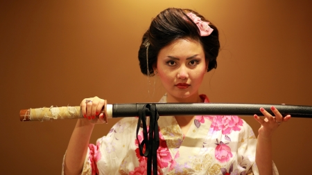 samurai warrior: Japanese geisha samurai with sword on orange