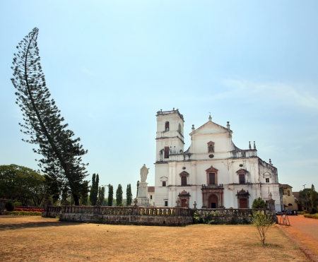 17th: Old colonial church, Goa, India. Church in 17th century colonial baroque style Stock Photo