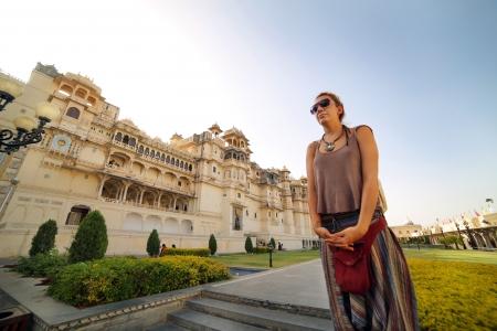 Female tourist at Udaipur Palace