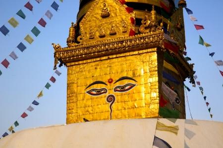 kathmandu: Symbol of Nepal, Buddhas Eyes in Kathmandu Stock Photo