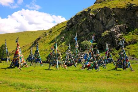 spirit medium: Shaman Adak Tree, prayers flag, Mongolia