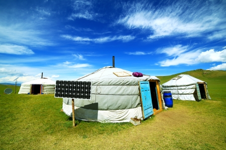 mongolia: Mongolian ger camps with solar power, TV satellite and oxcart, Central Mongolia. Great contrast, modern and traditional lifestyle melting each other
