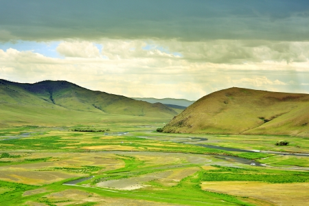 View of Orkhon Valley, Karakorum, Mongolia. You see an empty valley but this place was the capital of mongol empire at 13th century. Genghis Khan's used here as army based. Because they were nomadic, there is no building. Ä°t is just like Great Khaan's ti Stockfoto