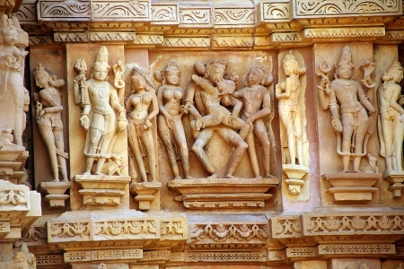 Group Sex Figures in Kama Sutra Temples in India Stockfoto