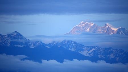 View of Mount Everest from Nagarkot, Kathmandu, Nepal photo