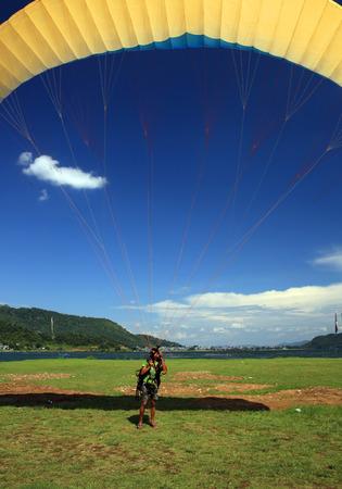 gliding: Paragliding over Pokhara, Nepal