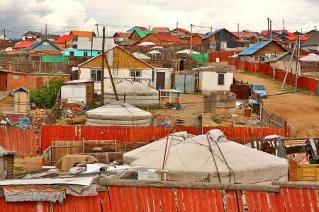 slums: Poor households in outskirts of Ulaanbaatar, Mongolias Capital Stock Photo