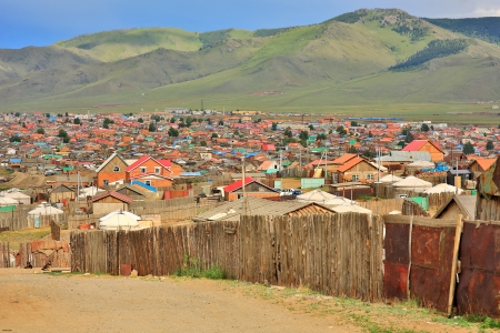 tent city: Poor households in outskirts of Ulaanbaatar, Mongolia