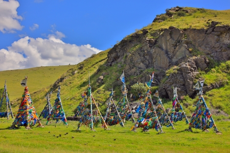 reincarnation: Shaman Adak Tree, prayers flag, Mongolia