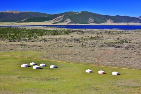 Yurt settlements, Terkhiin Tsagaan Lake, central mongolia Фото со стока