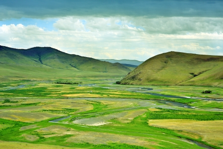 View of Orkhon Valley, Karakorum, Mongolia. You see an empty valley but this place was the capital of mongol empire at 13th century. Genghis Khan's used here as army based. Because they were nomadic, there is no building. Ä°t is just like Great Khaan's ti Foto de archivo