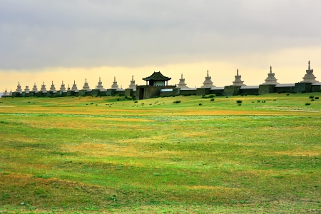 Karakorum city walls, old capital of medieval mongol empire. Walls constructed after Ghengis Khans death. There is Erdene Zuu Monastery inside. It is located todays Kharkhorin city at Orkhon Valley, Mongolia.