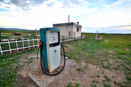 bizarre gas station pump, mongolia photo