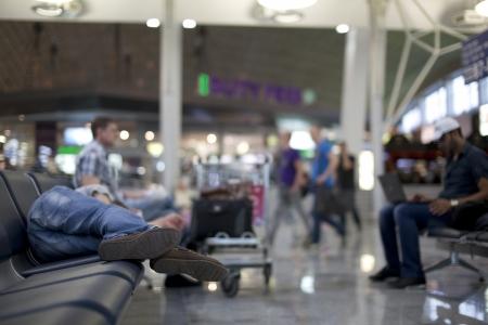 sleeping bag: sleeping in airport