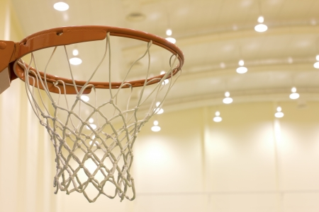basketball hoop: scoring basket in basketball court Stock Photo