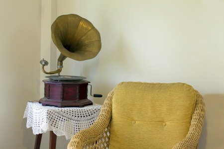 old gramophone at home