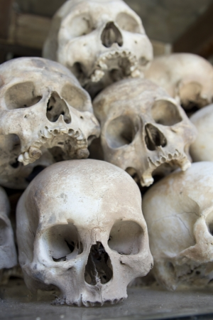 killing: Skulls and bones in Killing field, Cambodia Editorial