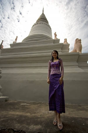 Asian Girl with Traditional Clothes in Temple