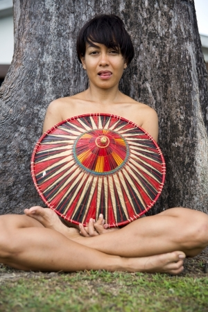 Attractive asian lady with hat