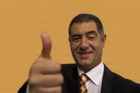 Businessman thumb up success Stockfoto