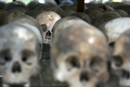 Skulls and bones in Killing field, Cambodia