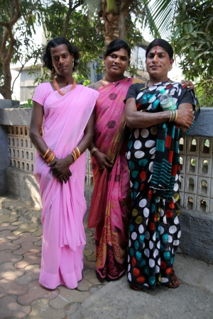 MUMBAI, INDIA - MARCH 2013: three indian gays with traditional clothes
