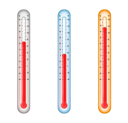 thermometers with medium, cold, and hot temperatures photo