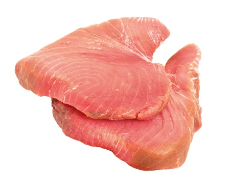 Raw tuna steaks, a good fish meat source for omega-3 fatty acids photo