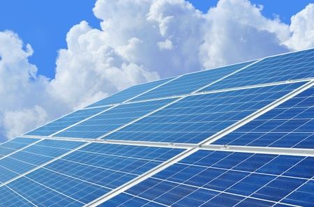 Solar power for electric renewable energy from the sun Stock Photo