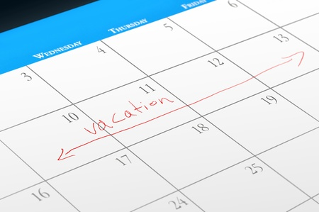 Vacation dates reserved on a calendar