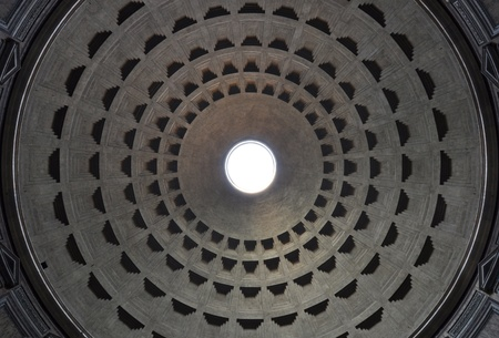 centered: Dome of Rome Pantheon with oculus perfectly centered
