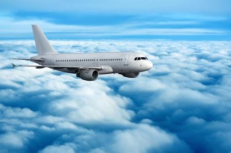 Commercial passenger jet traveling through the sky