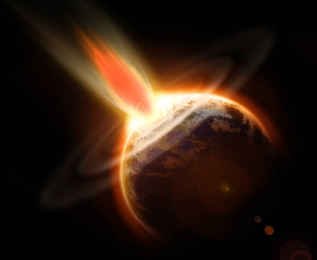 Mass extinction doomsday event from a comet impacting planet Earth photo