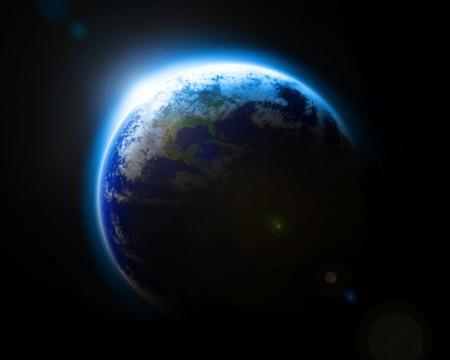 宇宙から見た地球を青します。 写真素材