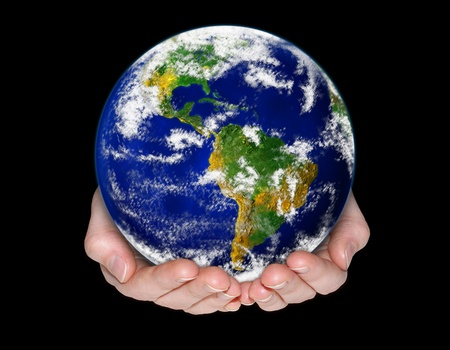 hands holding earth: Environment conservation concept