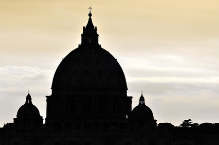 basilica of saint peter: Saint Peter s Basilica dome in Vatican City, Rome Stock Photo