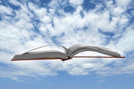 libros volando: Libro flotante para el concepto de conocimiento en tiempo y la historia
