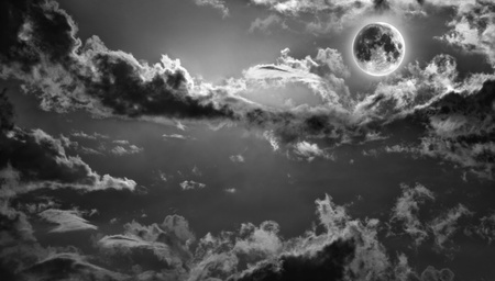 Dark haunted night sky with full moon Stock Photo